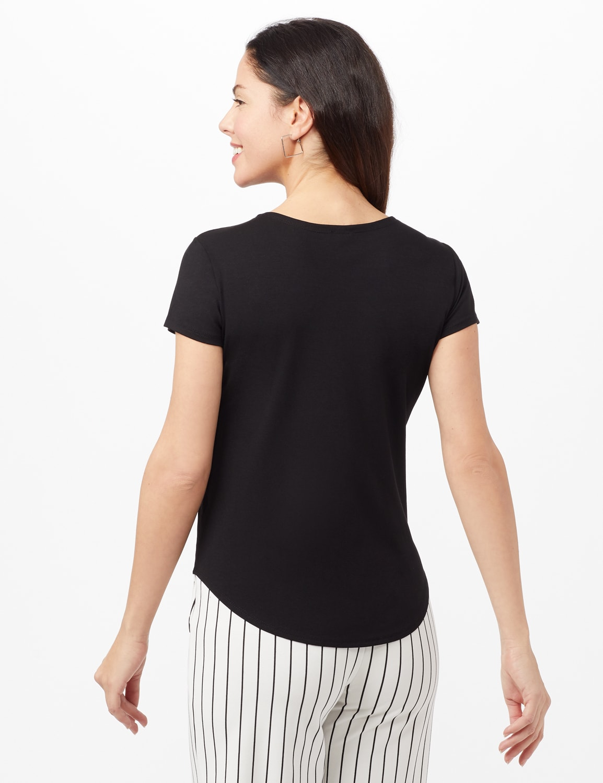 Crew Neck Shirttail Knit Tee - Black - Back