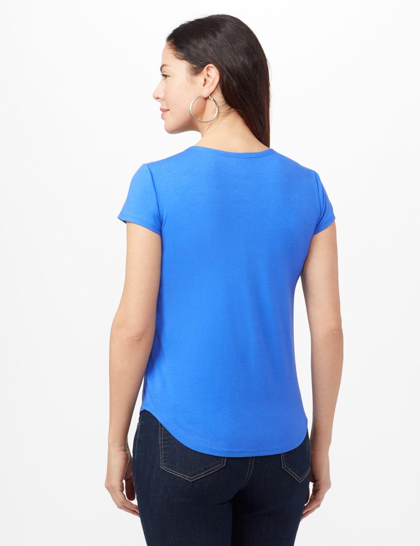 Crew Neck Shirttail Knit Tee - Rio Blue - Back