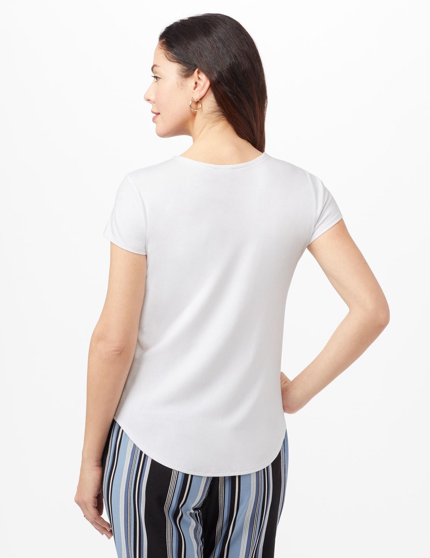Crew Neck Shirttail Knit Tee - White - Back