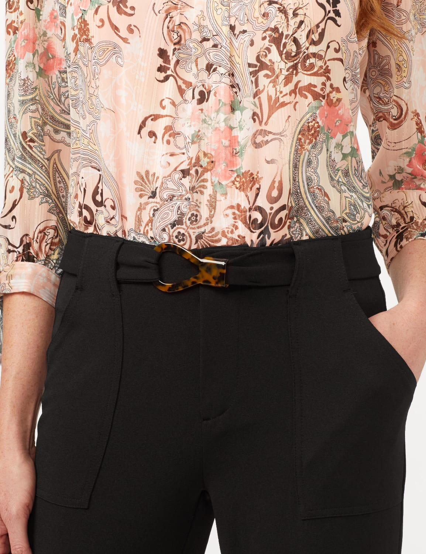 Knit Crepe High Rise Wide Leg Pants - Black - Detail