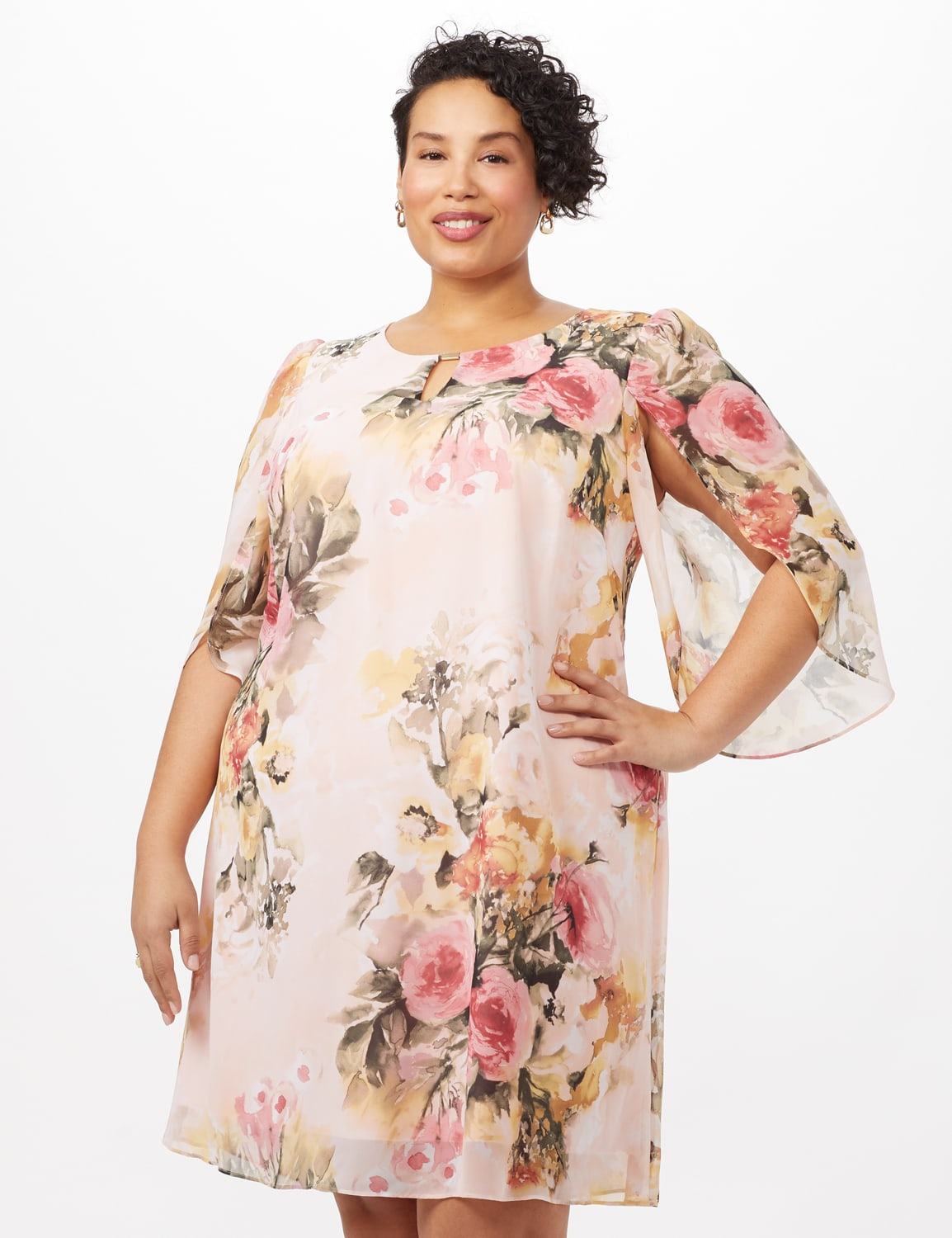Floral Chiffon Dress with Keyhole Neckline - Rose - Front