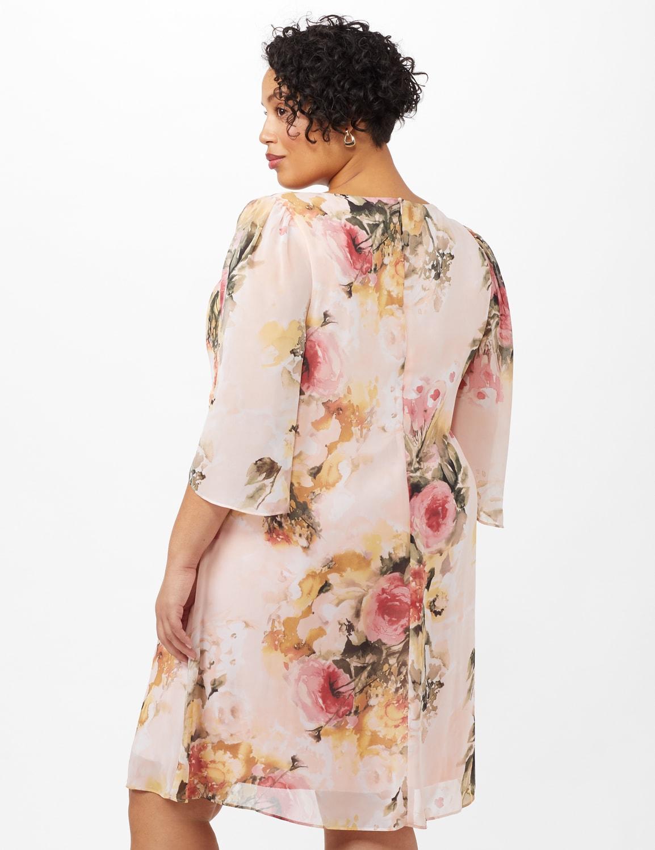 Floral Chiffon Dress with Keyhole Neckline - Rose - Back