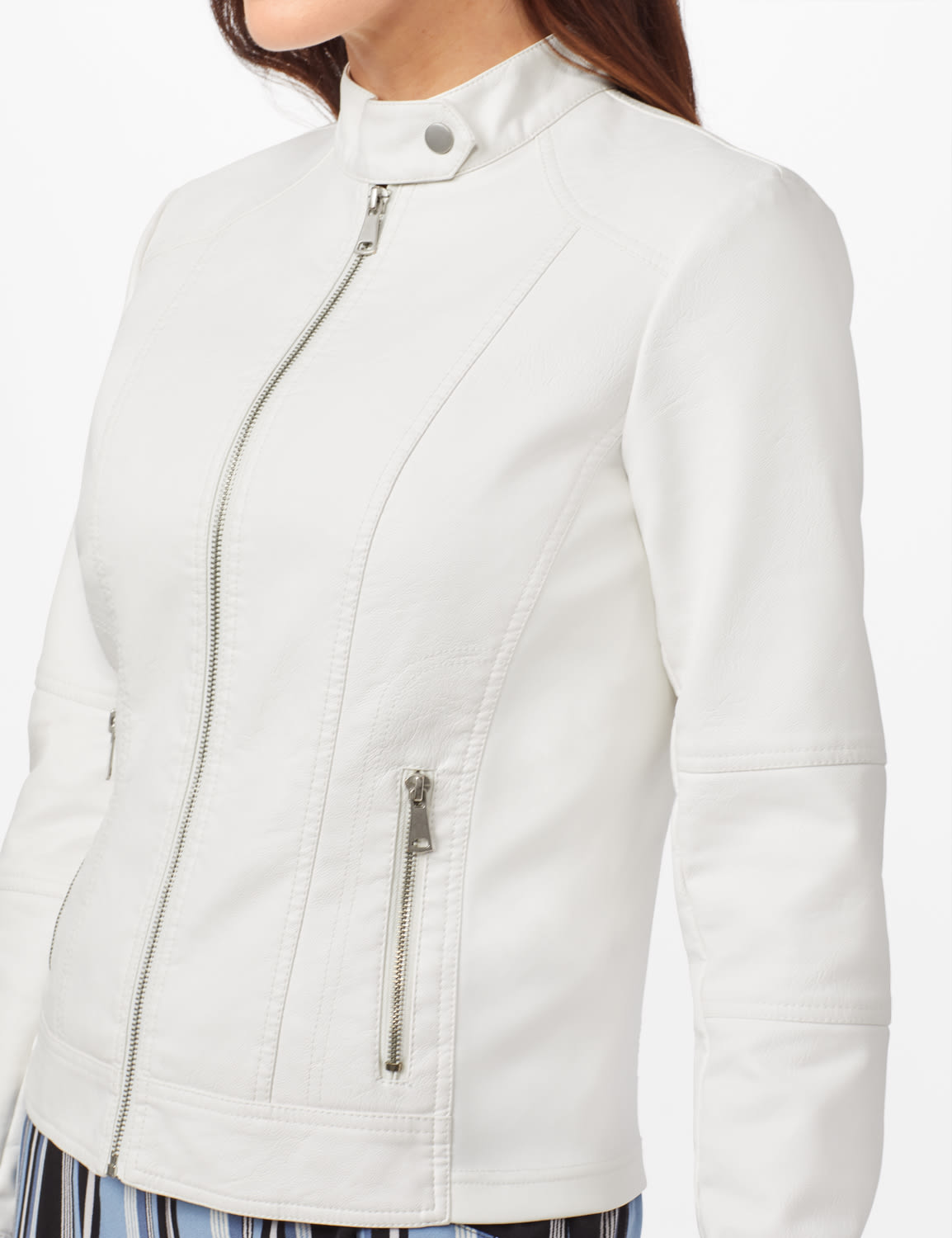 Faux Leather Zip Front Jacket - White - Detail