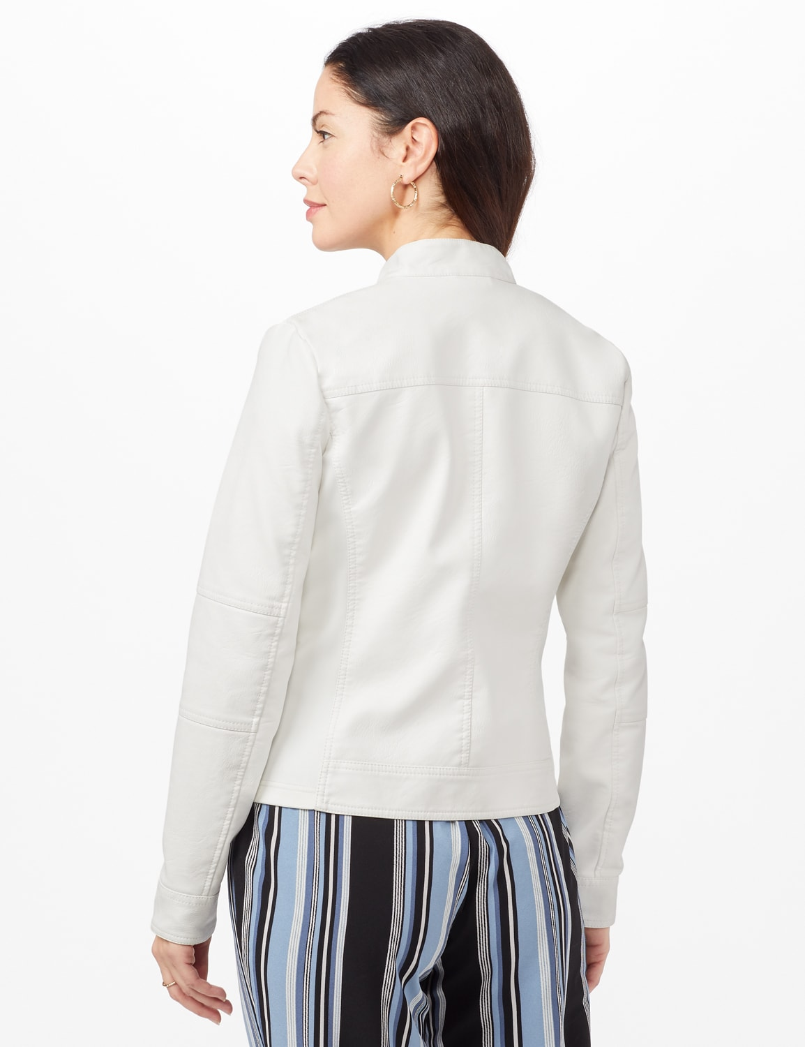 Faux Leather Zip Front Jacket - White - Back
