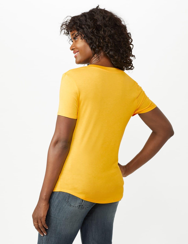 V-Neck Shirttail Tee - Gold - Back