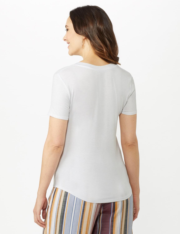 V-Neck Shirttail Tee - White - Back