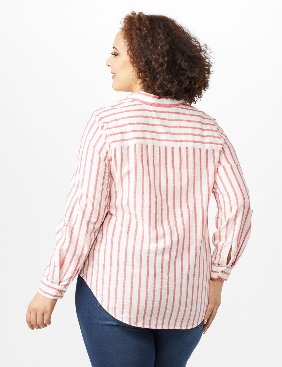 Roll Tab Lurex Stripe Shirt - Plus - Red - Back