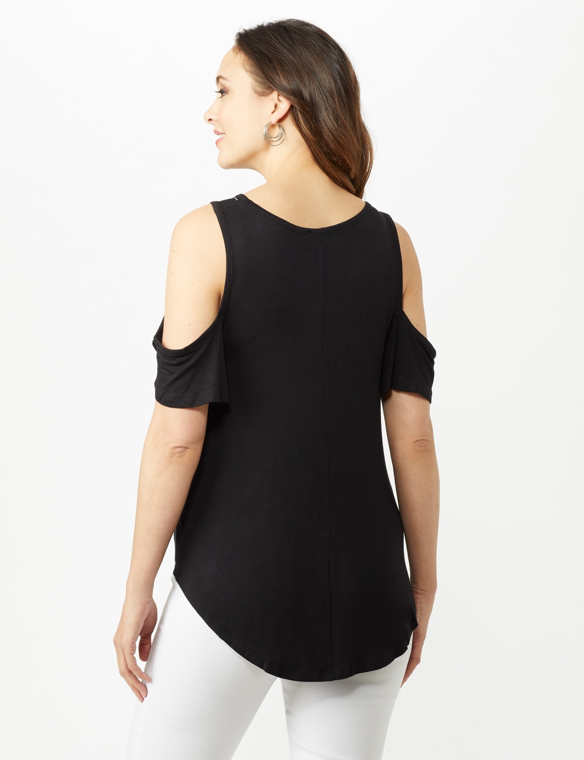 Cold Shoulder Knit Top - Black - Back