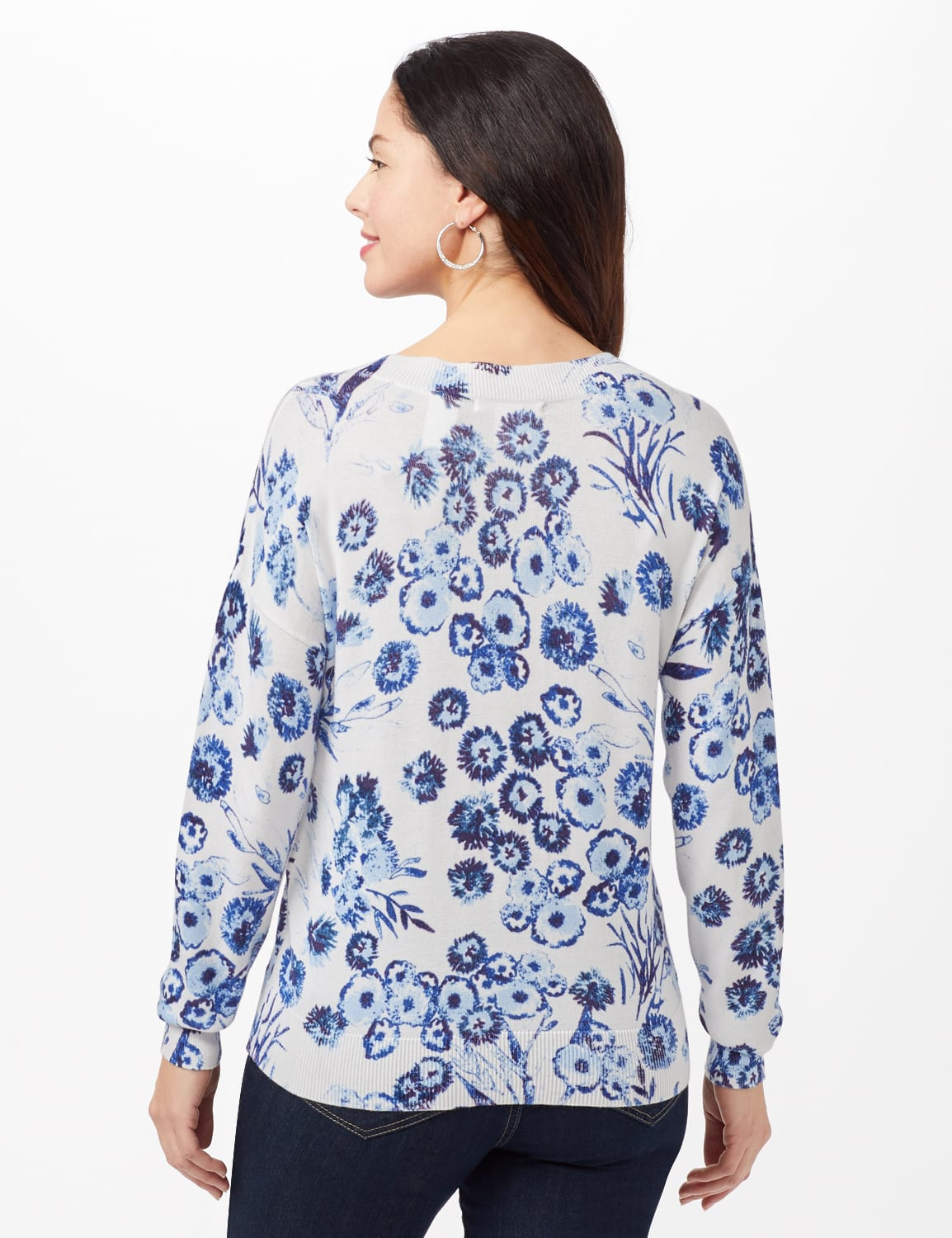 V-Neck Floral Pullover Sweater - Blue - Back