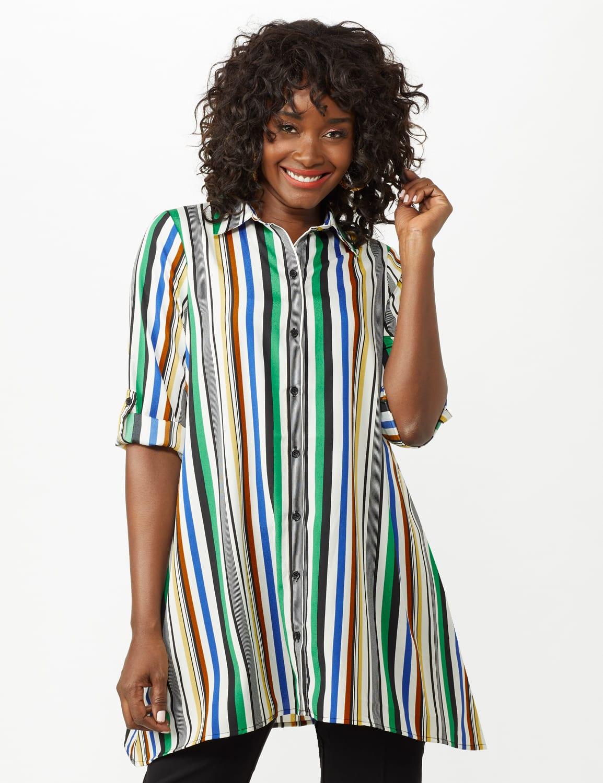 Multi Stripe Roll Tab Textured Tunic Shirt - Multi - Front