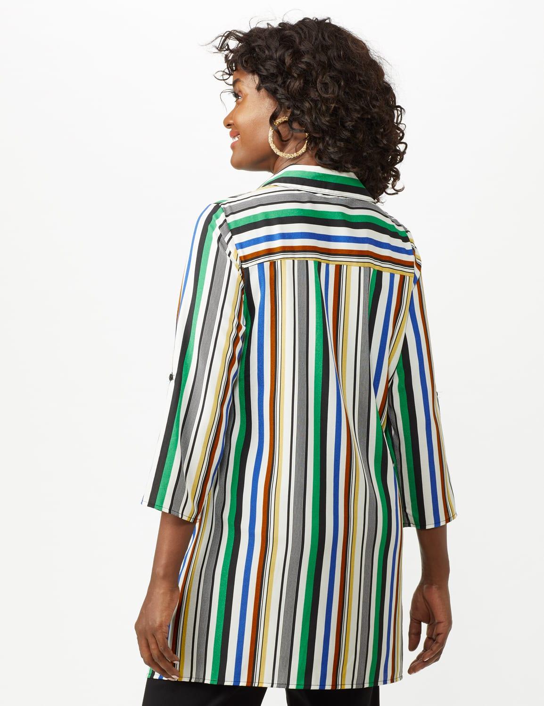Multi Stripe Roll Tab Textured Tunic Shirt - Multi - Back