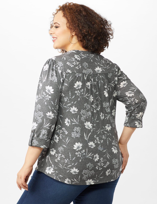Floral Pintuck Popover - Grey - Back