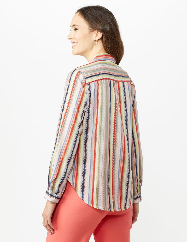 Multi Stripe Roll Tab Shirt - Misses - Multi - Back