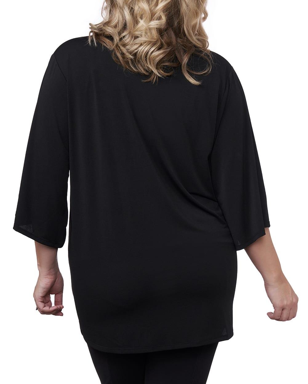 3/4 Sleeve Grommet Trimmed Cardigan - Plus - Black/Gold - Back