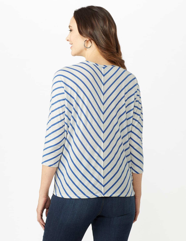 Stripe Tie Front Knit Top - Oatmeal/Blue Ocean - Back
