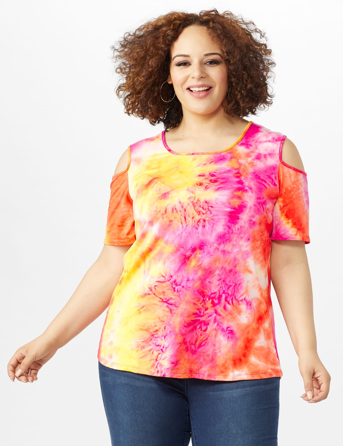 Tie Dye Cold Shoulder Knit Top - Plus - Pink - Front