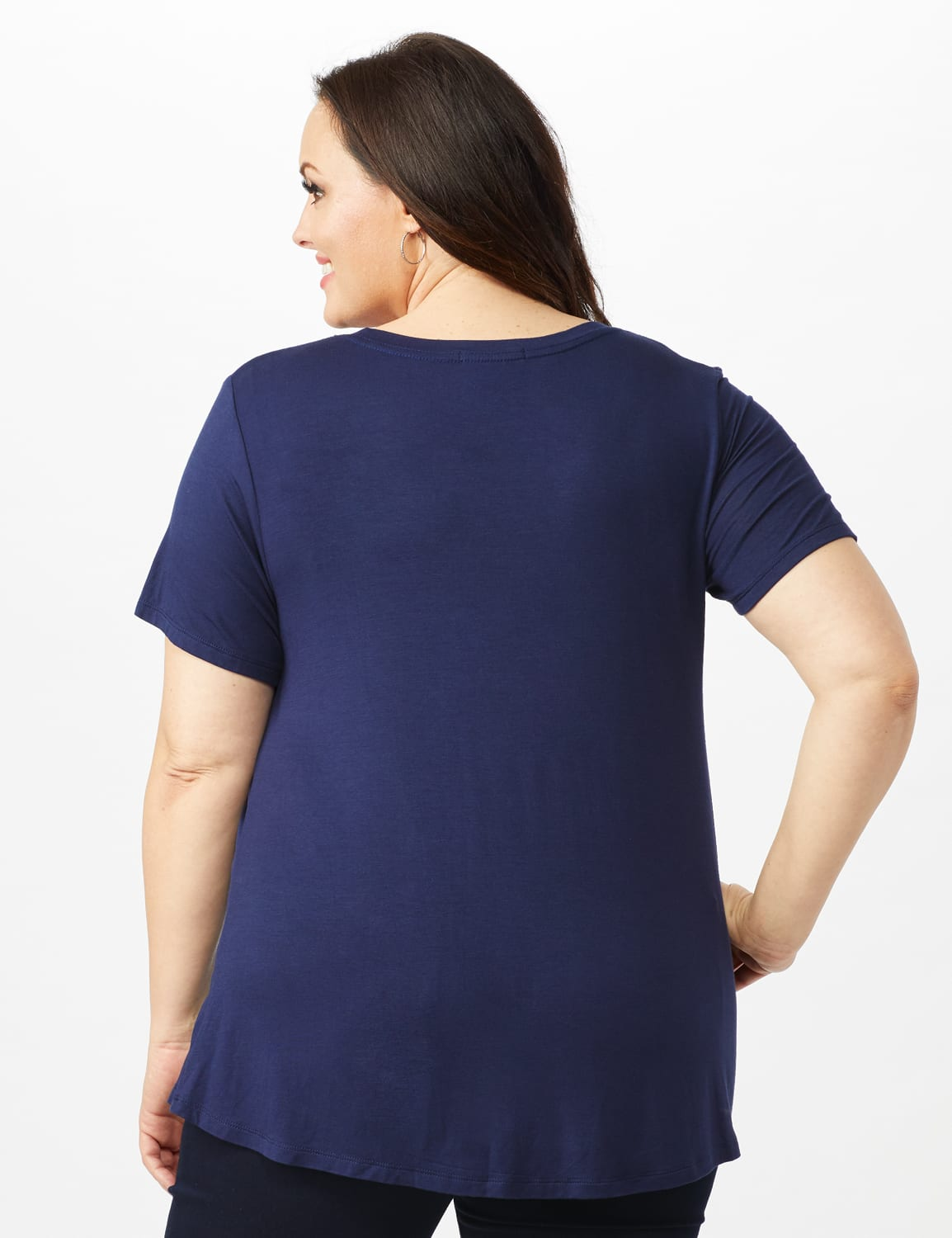 V Front  Knit Screen Tunic - Plus - Navy - Back