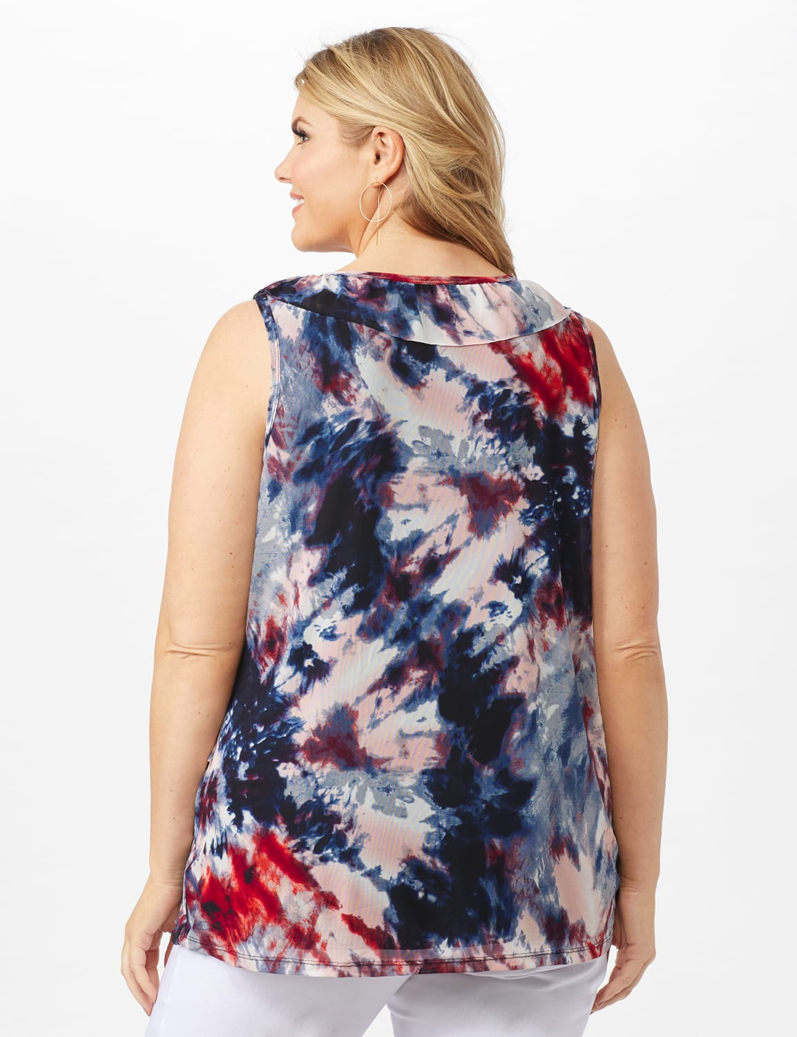Tie Dye Mesh Ruffle Knit Top - Plus - Indigo - Back