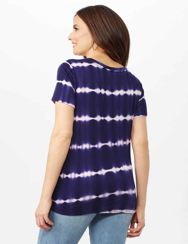 Stripe Tie Front Knit Top - Navy - Back