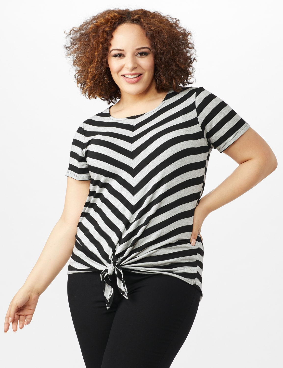 Mitered Stripe Tie Front Knit Top - Plus - Grey/Black - Front