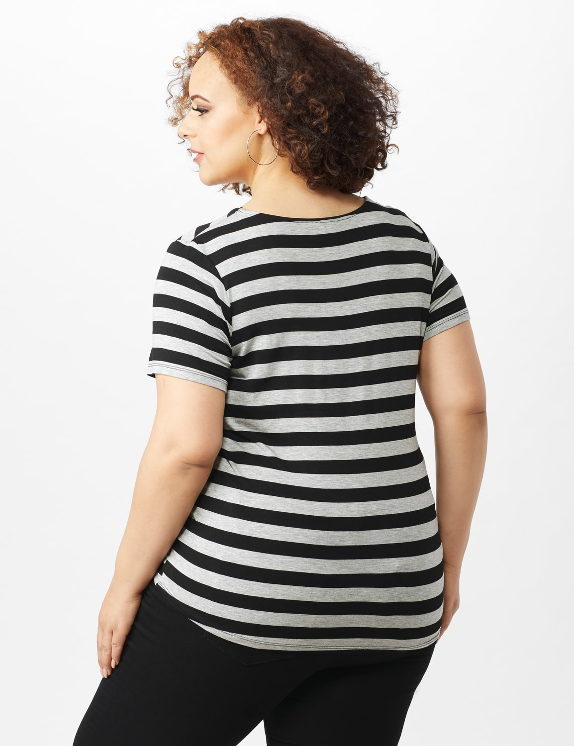 Mitered Stripe Tie Front Knit Top - Plus - Grey/Black - Back