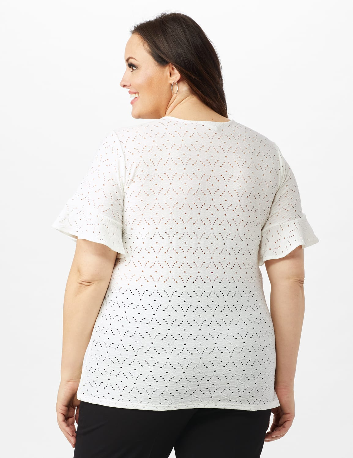 Sweatheart Neck Lace Tee - Plus - White - Back