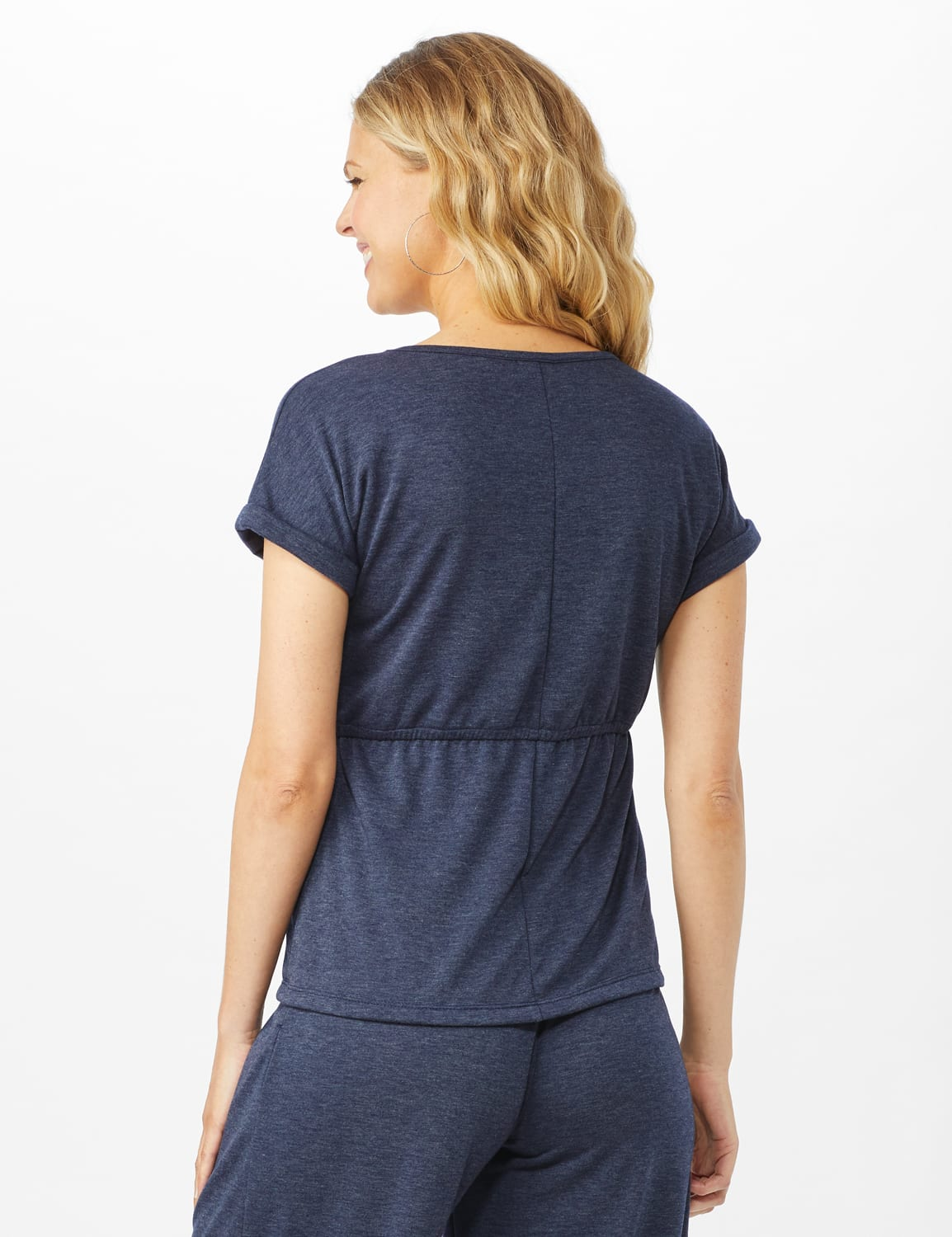 Cinch Waist Heathered Knit Top - Misses - Blue - Back