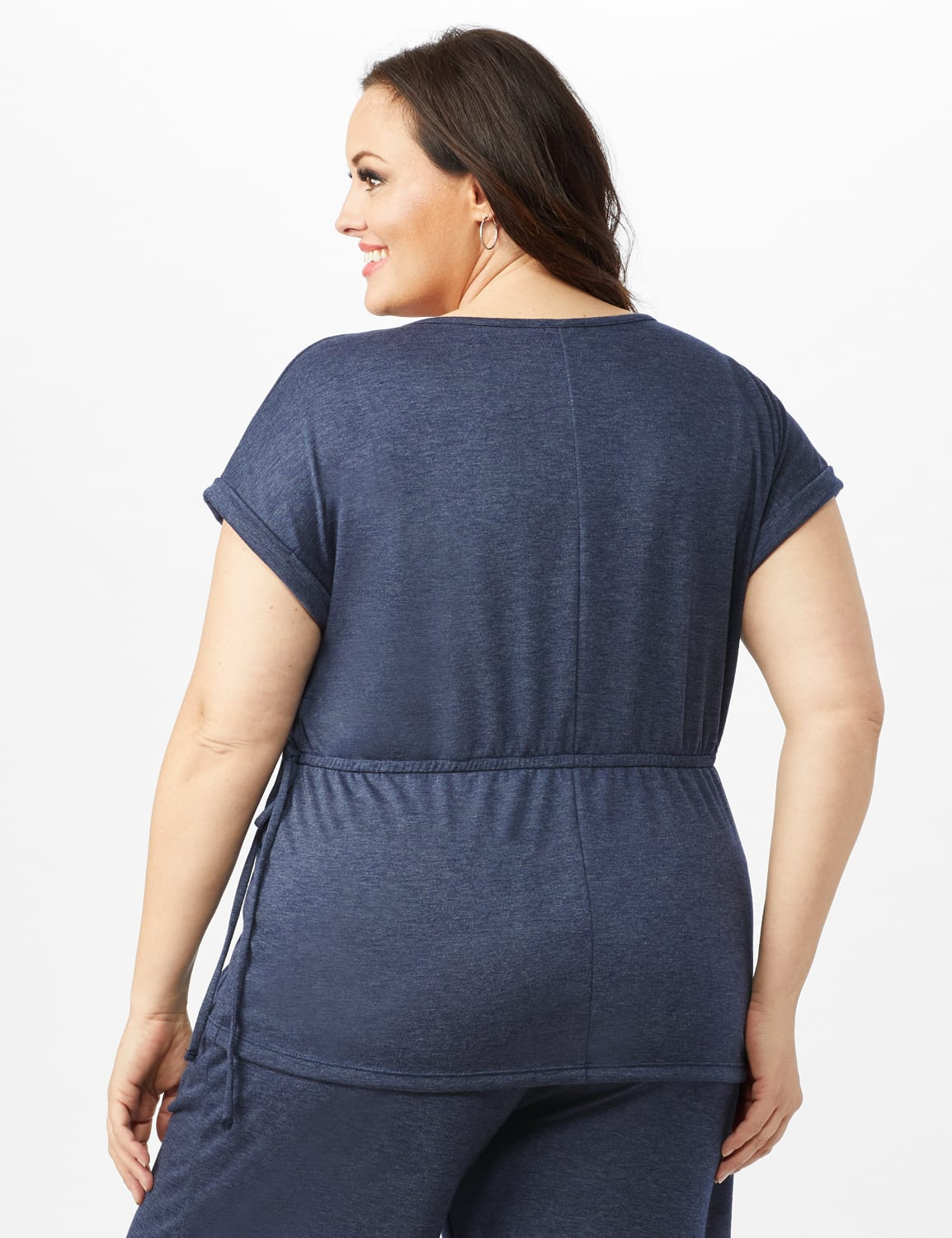 Cinch Waist Heathered Knit Top - Plus - Blue - Back