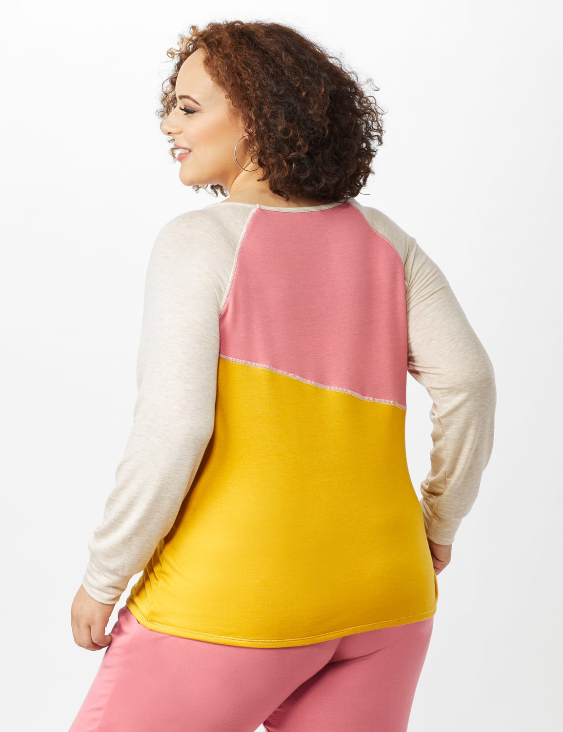 Color Block Sweatshirt with Stitch Detail - Coral - Back