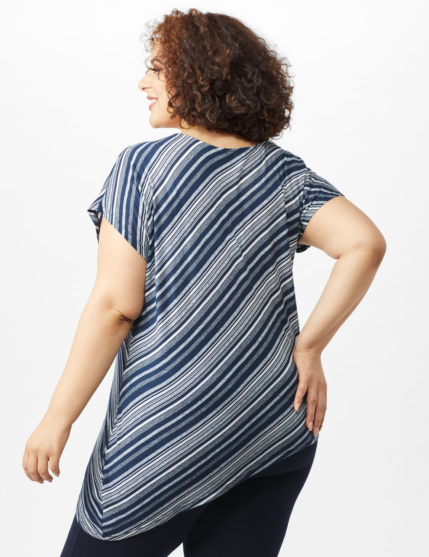 Asymmetrical Striped Knit Tunic - Blue - Back