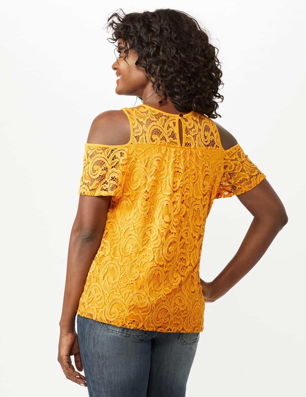 Lace Cold Shoulder Knit Top - Mustard - Back