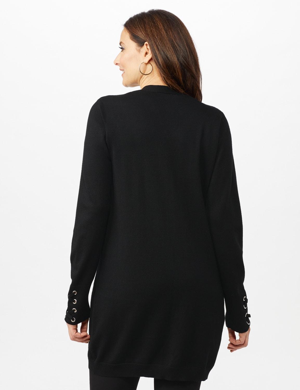 Grommet Lace-Up Trim Open Cardigan - Black - Back