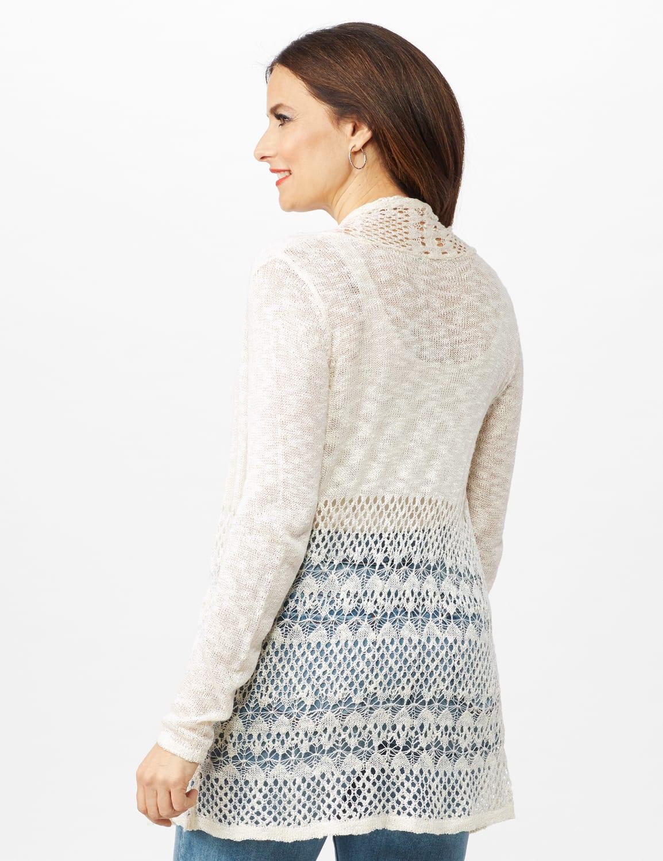 Textured Cardigan with Crochet Detail - Ecru - Back