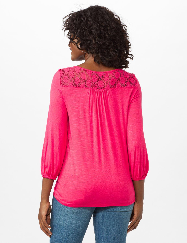 Crochet Trim Tie Front Knit Top - Maui Rose - Back