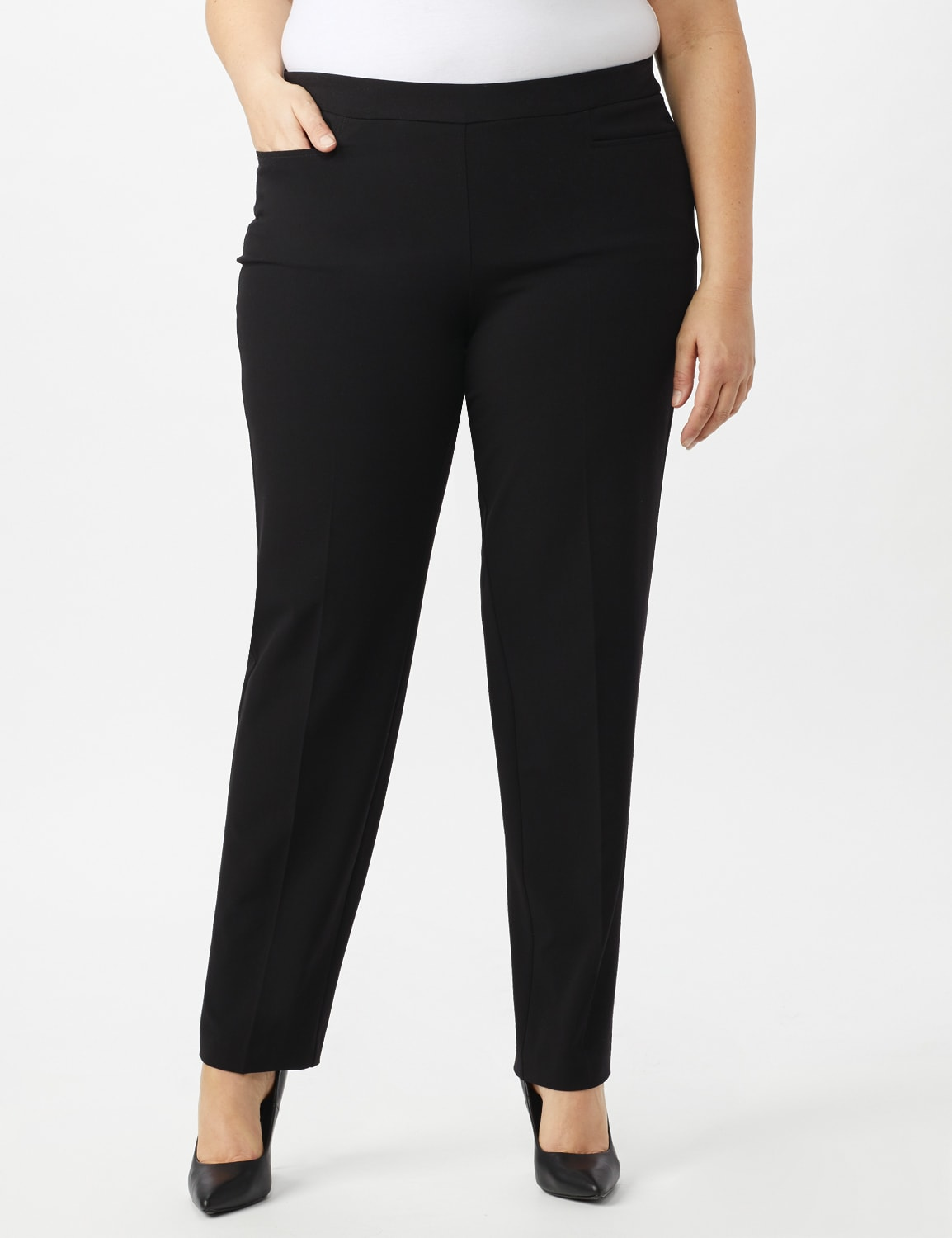 Secret Agent Pull On Tummy Control Pants with Pockets - Short Length - Black - Front