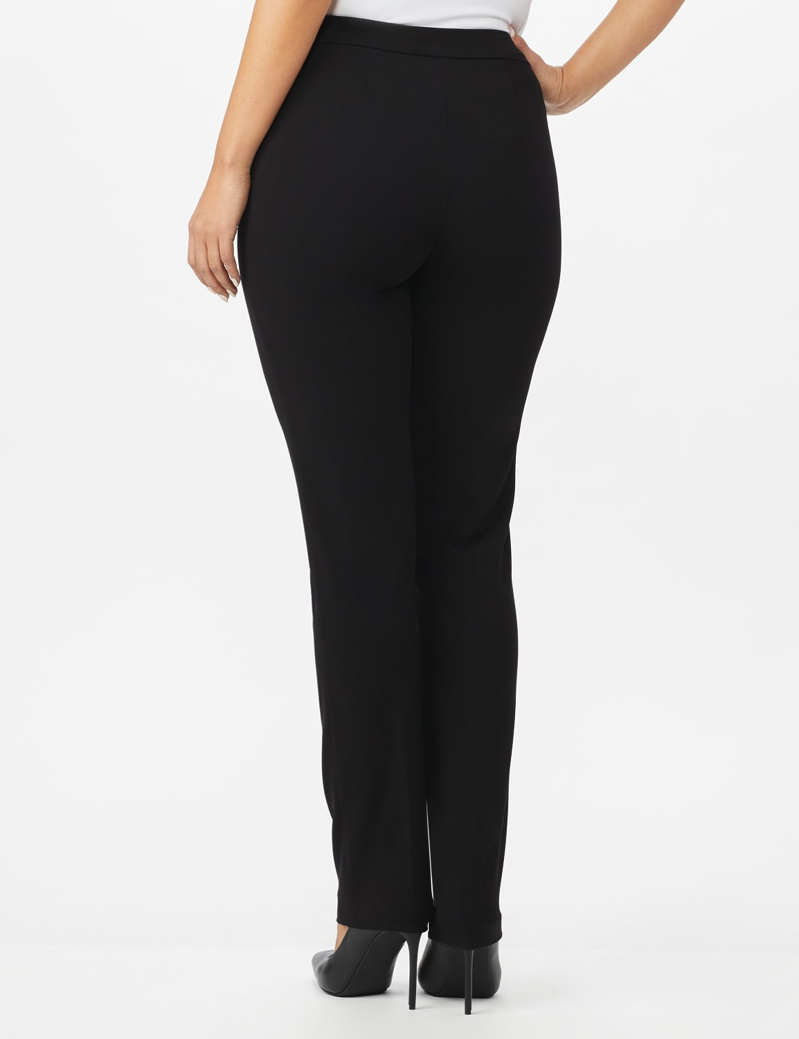 Roz & Ali Secret Agent Pull On Pant with Pockets - Short Length - Black - Back