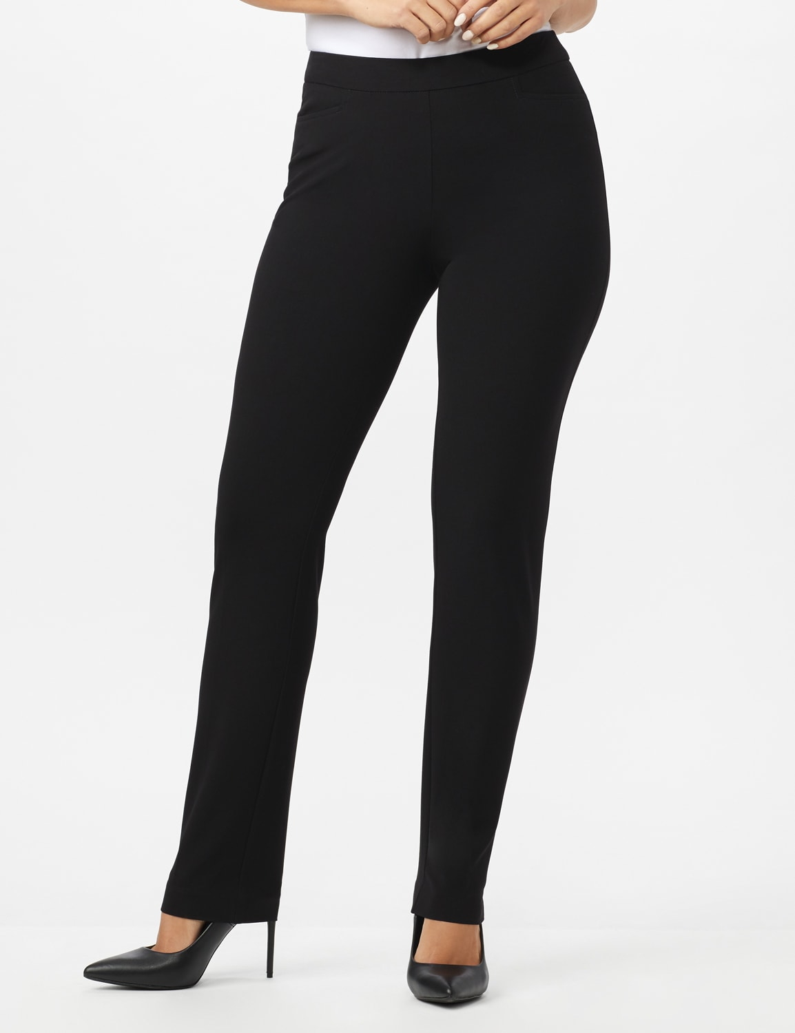 Roz & Ali Secret Agent Pull On Pant with Pockets - Short Length - Black - Front