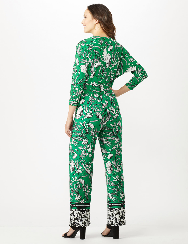 Knit Pull on Print Pant - Green/Black/Ivory - Back