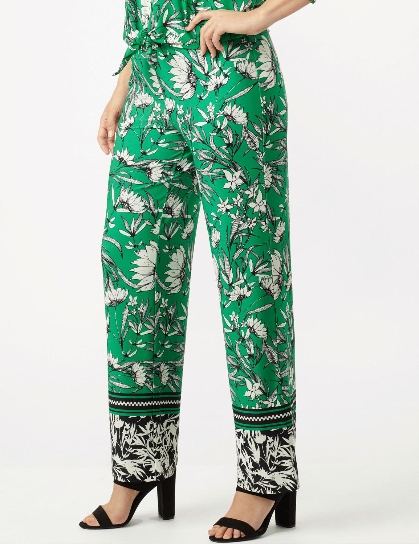 Knit Pull on Print Pant - Green/Black/Ivory - Detail
