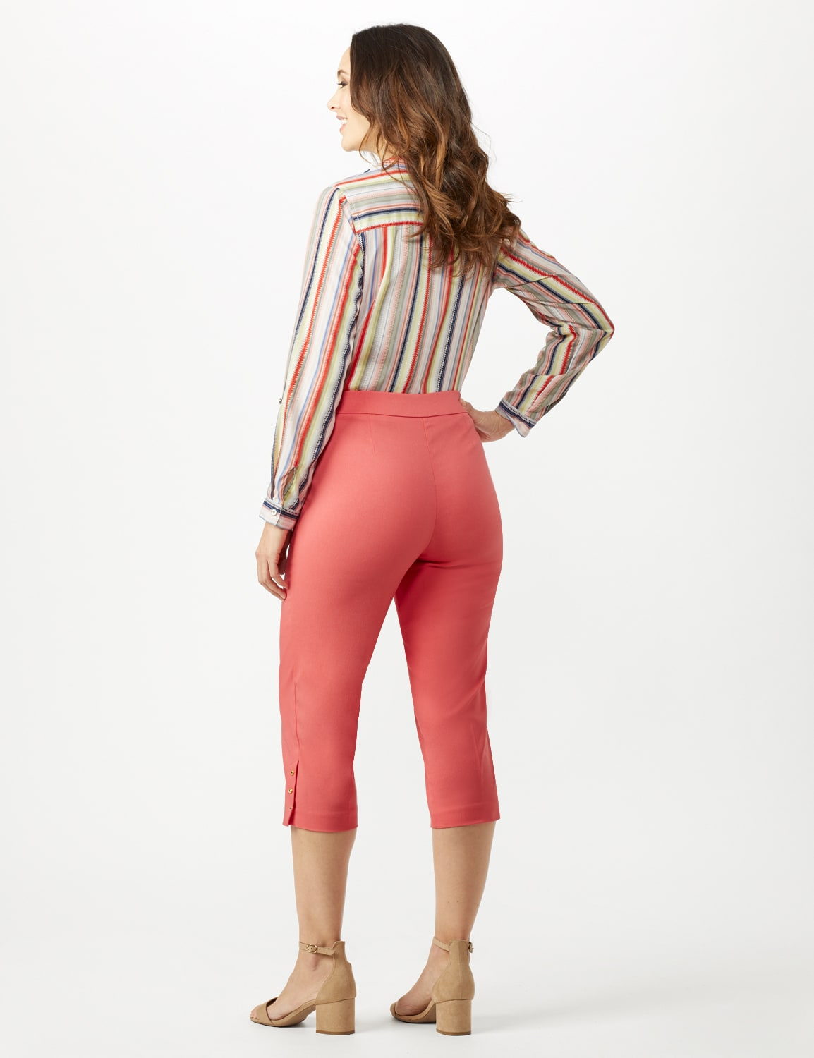Pull On Crop Pants - Coral - Back