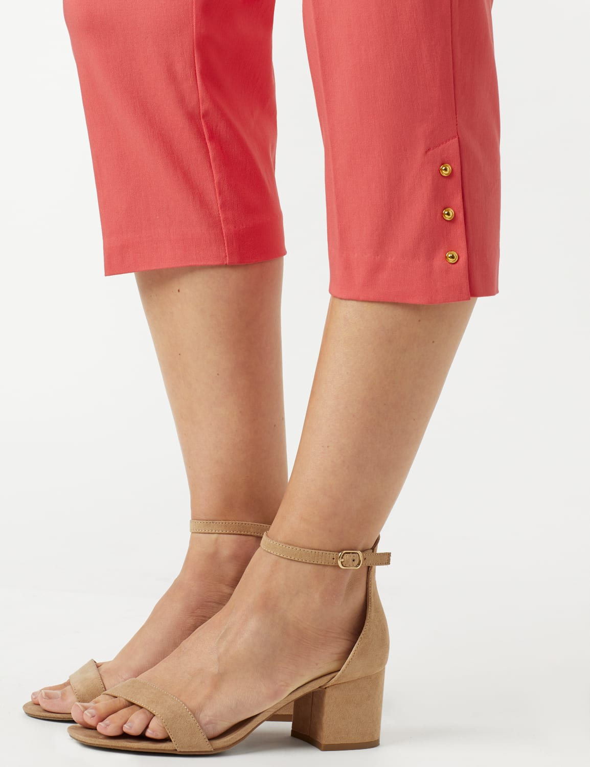 Pull On Crop Pants - Coral - Detail