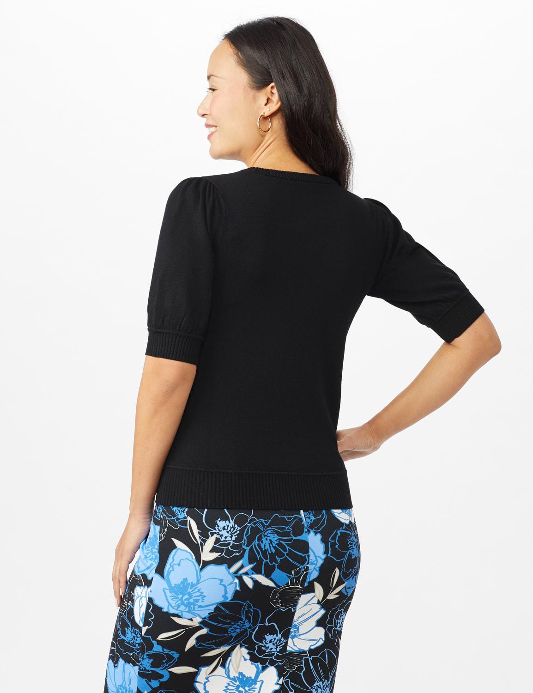Puff Sleeve Sweater - Black - Back
