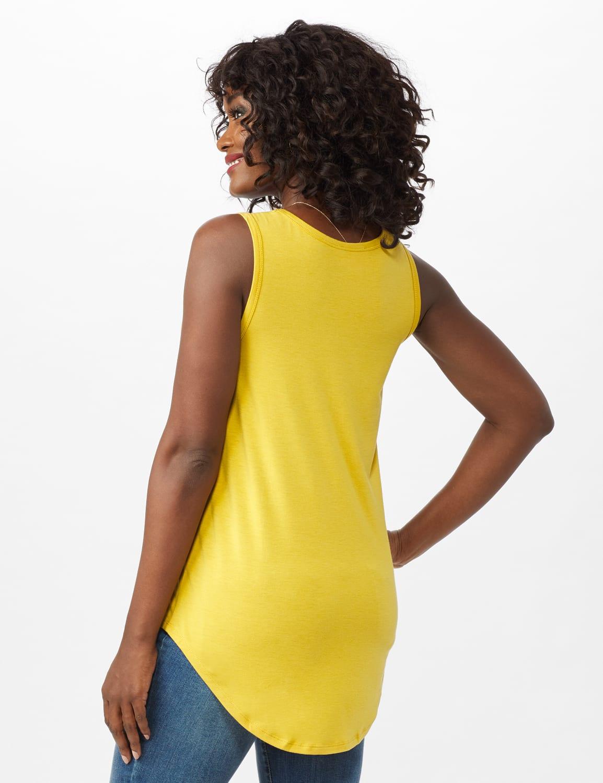 Hi Lo Hem Tank - Mustard - Back