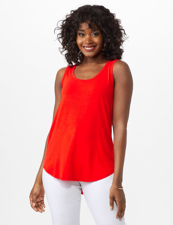 Hi Lo Hem Tank - Red Orange - Front