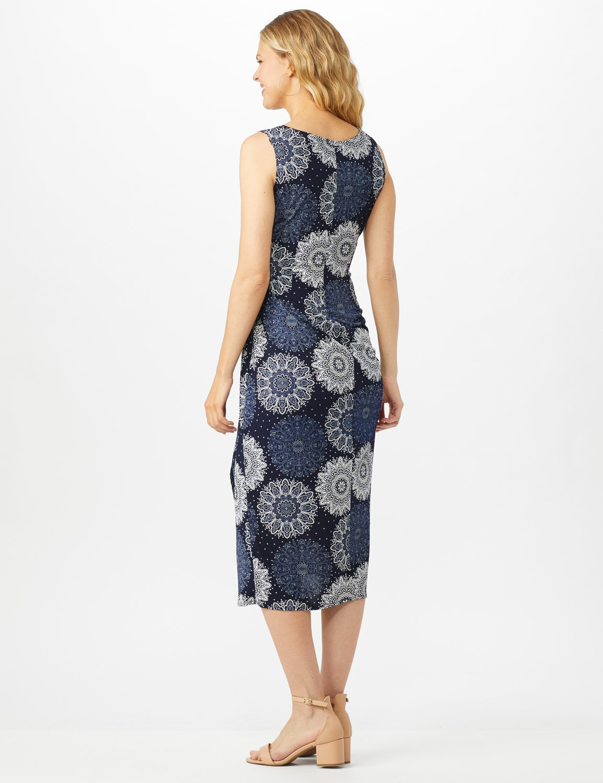 Sleeveless Side Tie Faux Wrap Medallion Print Dress - Navy - Back