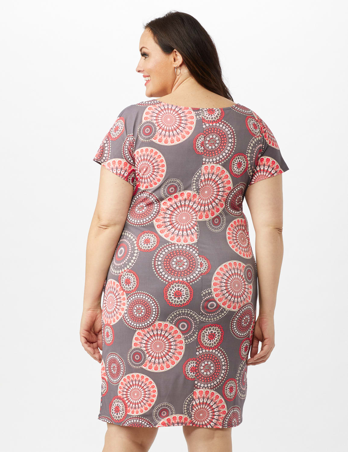 Cap Sleeve Side Tie Faux Wrap Medallion Print Dress - Grey/Coral - Back