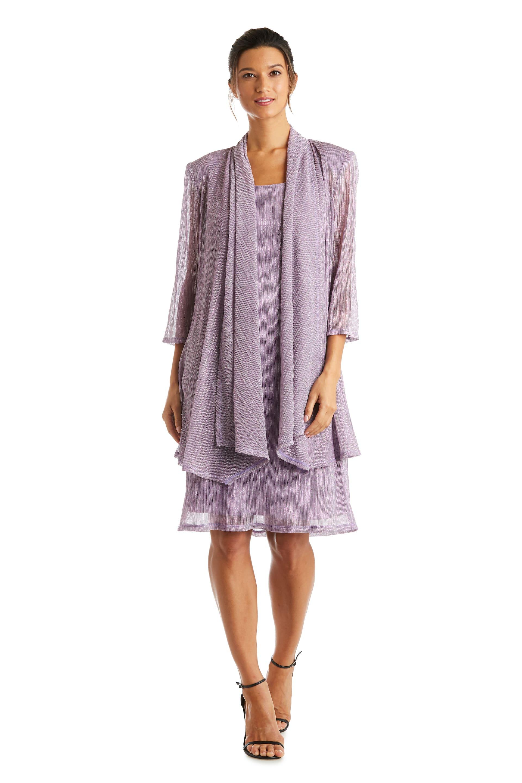2 Pcs Flyaway Metallic Pleat Jacket Dress - Magnolia - Front