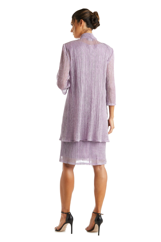 2 Pcs Flyaway Metallic Pleat Jacket Dress - Magnolia - Back