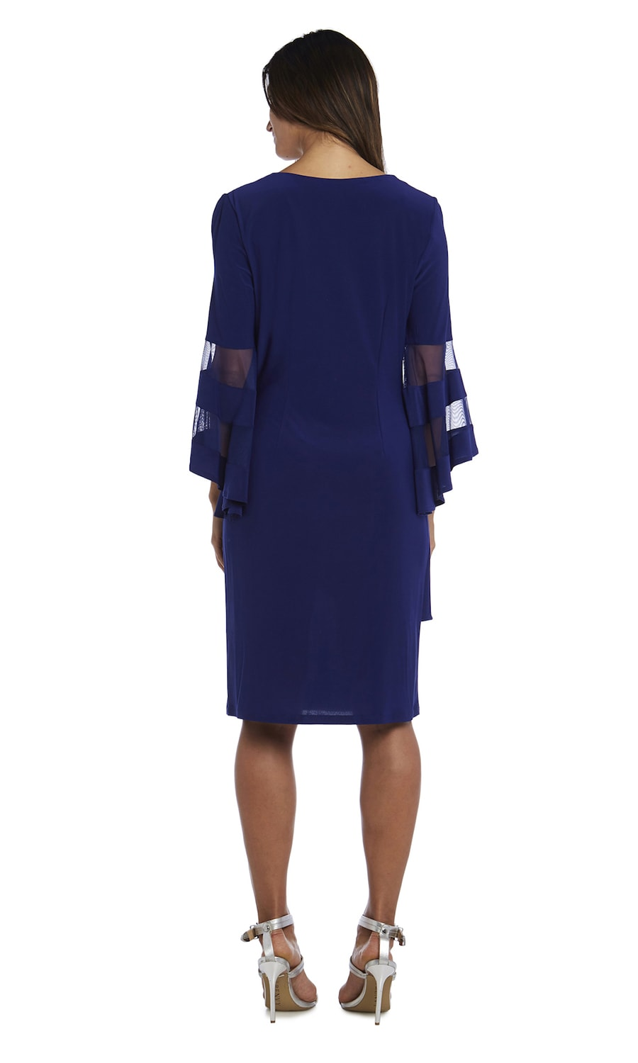 Illusion Bell Sleeve Dress with Rush Detail at Waist - Misses - Electric Blue - Back