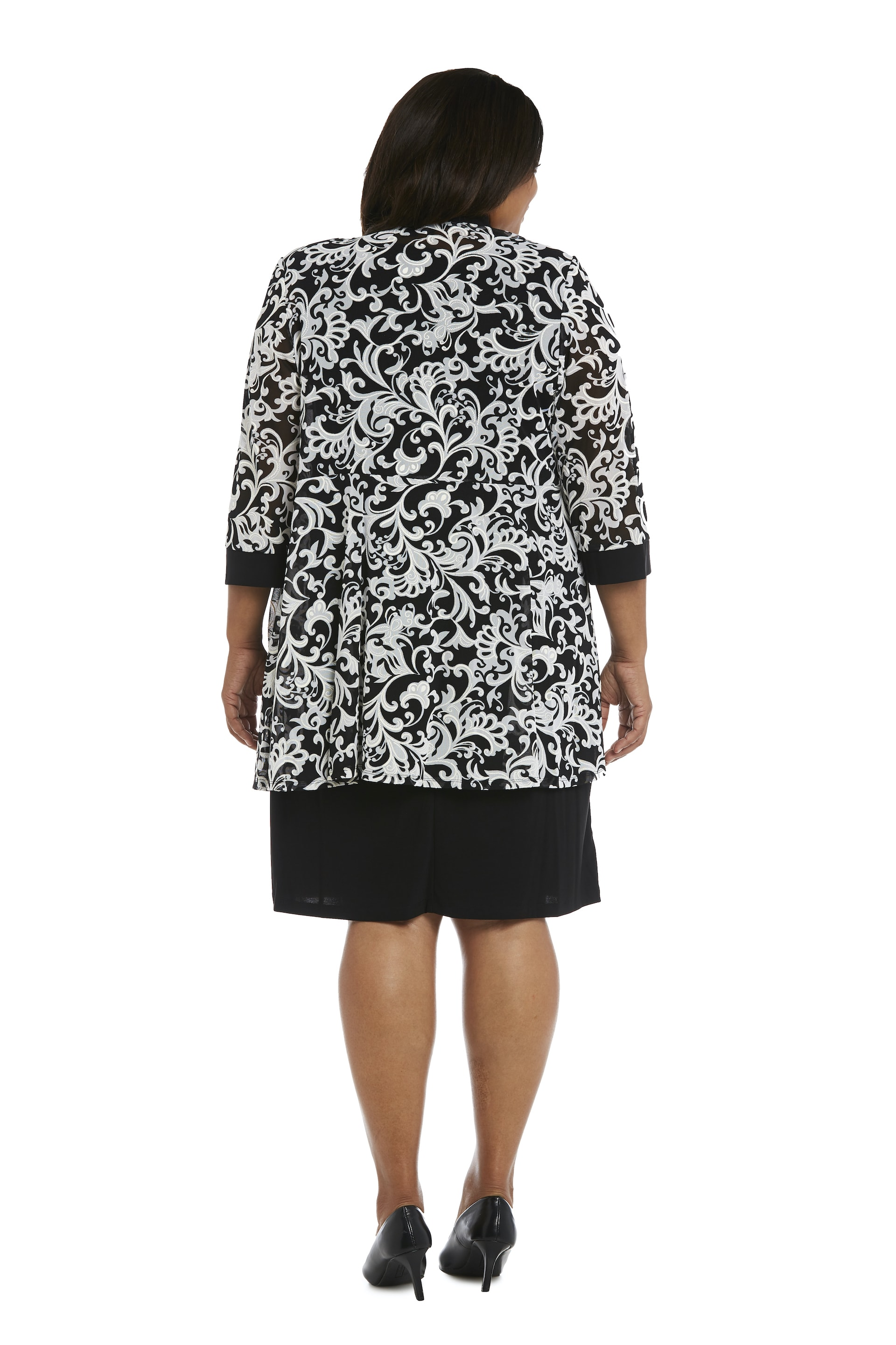 Scroll Mesh  Jacket with Sheath Dress - Black/White - Back
